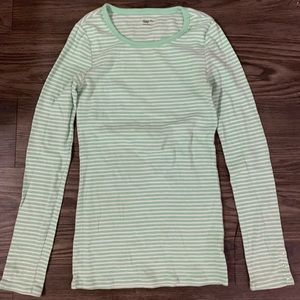 Gap Mint and White Striped Long Sleeve Tee